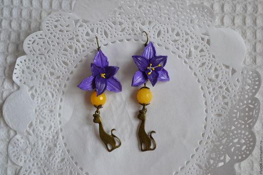 Серьги ручной работы. Ярмарка Мастеров - ручная работа. Купить Серьги с лилиями. Handmade. Тёмно-фиолетовый, цветы из полимерной глины