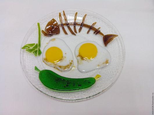 Натюрморт ручной работы. Ярмарка Мастеров - ручная работа. Купить Бизнес ланч. Handmade. Фьюзинг, Витраж, тарелка, стекло