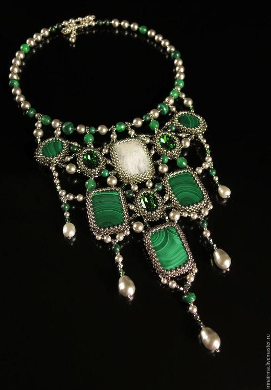 """Колье, бусы ручной работы. Ярмарка Мастеров - ручная работа. Купить Колье  """"Инфанта"""". Handmade. Зеленый, серебряный, лунный камень"""