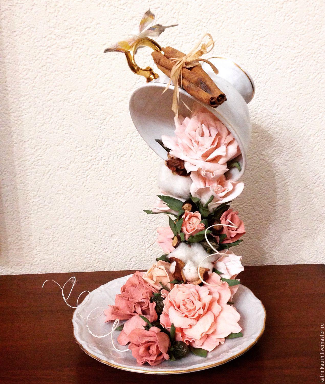 Кружка с блюдцем из цветов своими руками 76