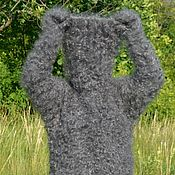 Одежда handmade. Livemaster - original item DOWNY KNIT SWEATER with attached mittens 100% goat down. Handmade.
