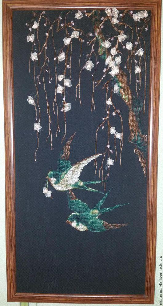 Натюрморт ручной работы. Ярмарка Мастеров - ручная работа. Купить Ласточки и Сакура. Handmade. Комбинированный, птицы, японский стиль, цветы