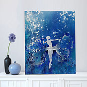 Картины и панно handmade. Livemaster - original item Ballerina oil painting is a Magical dance transformation among the stars. Handmade.
