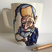Посуда handmade. Livemaster - original item Porcelain Cup Sigmund Freud. Handmade.