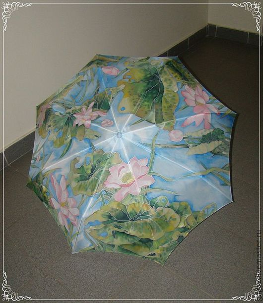 """Зонты ручной работы. Ярмарка Мастеров - ручная работа. Купить Шелковый зонт """"Лотосы""""батик. Handmade. Рисунок, зонт, свадебный зонт"""