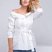 """Одежда ручной работы. Ярмарка Мастеров - ручная работа Рубашка """"Ариана"""" в белом. Handmade."""