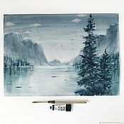 Картины и панно handmade. Livemaster - original item Northern winter landscape. Watercolor (blue, dark blue, dark green). Handmade.