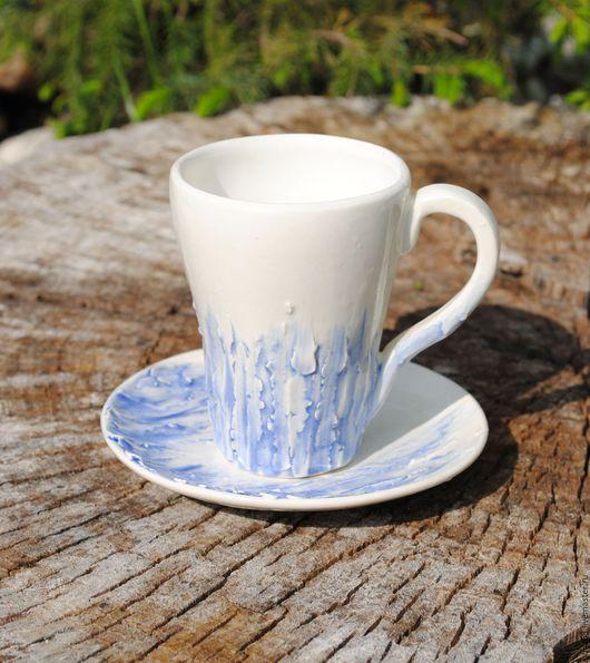 """Сервизы, чайные пары ручной работы. Ярмарка Мастеров - ручная работа. Купить Кофейная пара """"Синий лёд"""". Handmade. Голубой"""