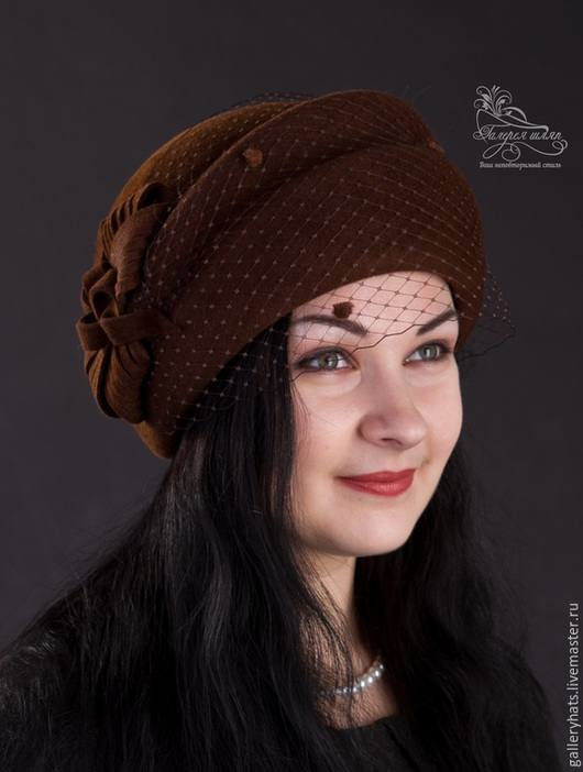 Шляпы ручной работы. Ярмарка Мастеров - ручная работа. Купить шляпа  Берта с вуалью из велюра. Handmade. Коричневый, шляпа