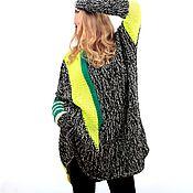 Одежда ручной работы. Ярмарка Мастеров - ручная работа Туника оверсайз вязаная размер XXL уютное платье НЕОН + бонус. Handmade.