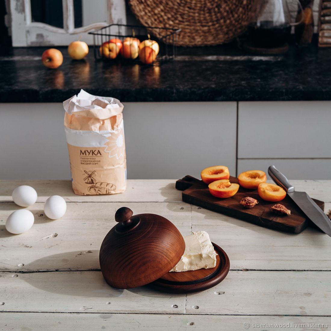 Масленка из дерева Сибирский Кедр для сливочного масла MS7, Наборы посуды, Новокузнецк,  Фото №1