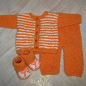 """Работы для детей, ручной работы. Ярмарка Мастеров - ручная работа Комплект для новорожденного """"Оранжевые сны"""". Handmade."""