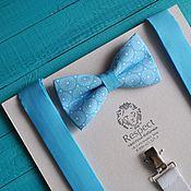 Аксессуары handmade. Livemaster - original item Set: tie blue Retro circles blue suspenders. Handmade.