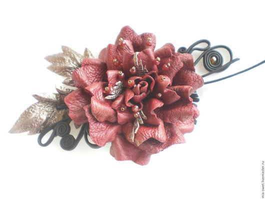 Броши ручной работы. Ярмарка Мастеров - ручная работа. Купить Цветы из кожи. Роза. Handmade. Бордовый, роза из кожи, роза