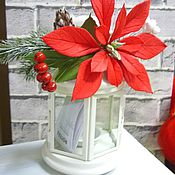 Цветы и флористика handmade. Livemaster - original item Candle holder with poinsettias. Flowers polymer clay handmade. Handmade.