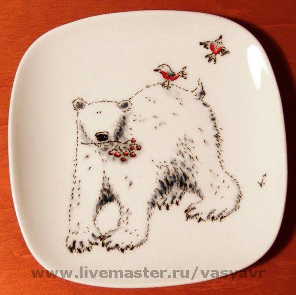 """Тарелка """"Серьезный белый ведмедь"""""""