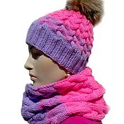 Аксессуары handmade. Livemaster - original item Winter knitted set gradient. Hat, cowl, mittens.. Handmade.