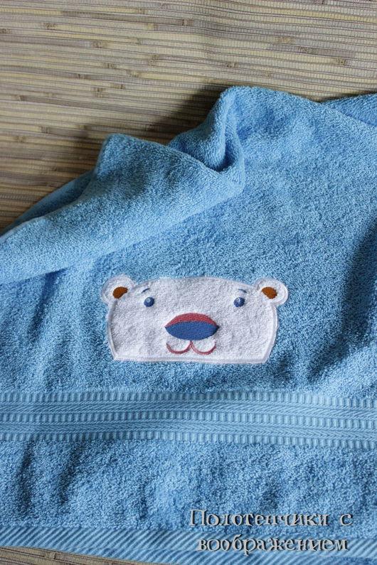 Ванная комната ручной работы. Ярмарка Мастеров - ручная работа. Купить Мишка на севере.  Ручное полотенце ). Handmade. Голубой