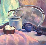 """Картины и панно ручной работы. Ярмарка Мастеров - ручная работа Картина маслом"""" Чай с зефиром"""". Handmade."""