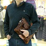 Сумки и аксессуары ручной работы. Ярмарка Мастеров - ручная работа Мужская сумка через плечо Кожаная сумка планшет кожа Подарок мужчине. Handmade.