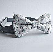 Аксессуары handmade. Livemaster - original item Tie white and gray small flowers. Handmade.