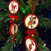 Подарки к праздникам ручной работы. Ярмарка Мастеров - ручная работа ЛОСИКИ новогодние:) игрушка на ёлку. Handmade.