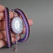 Украшения ручной работы. Ярмарка Мастеров - ручная работа Фиолетовые наручные часы из бисера. Handmade.