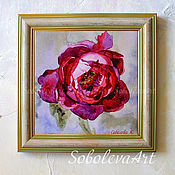 Картины и панно handmade. Livemaster - original item Picture Burgundy Peony Mural on the Wall Painting Flowers Gift for New. Handmade.