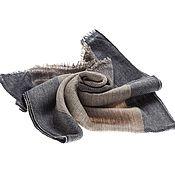 Аксессуары ручной работы. Ярмарка Мастеров - ручная работа Бежевый мужской кашемировый шарф рельефного плетения с синей полосой. Handmade.