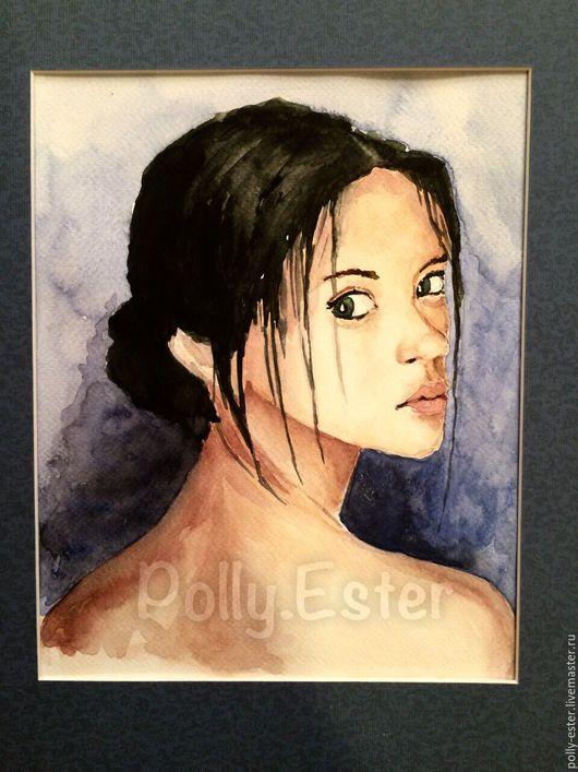 """Люди, ручной работы. Ярмарка Мастеров - ручная работа. Купить Акварельная картина """"Портрет девушки"""". Handmade. Акварель, картина"""