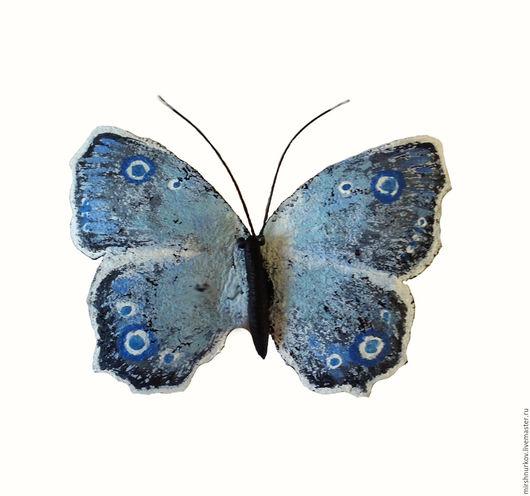 """Броши ручной работы. Ярмарка Мастеров - ручная работа. Купить Брошь из кожи """"Бабочка"""". Handmade. Синий, голубая бабочка"""