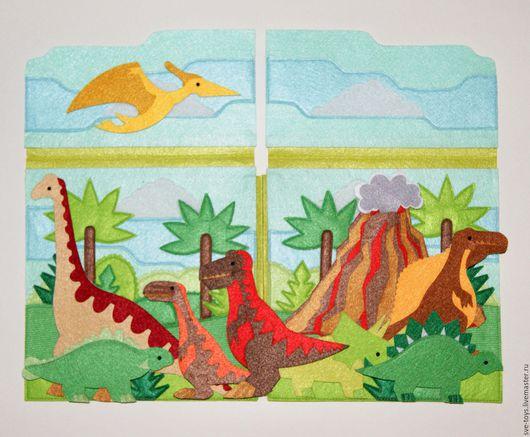 """Развивающие игрушки ручной работы. Ярмарка Мастеров - ручная работа. Купить книжка - игрушка """"Динозавры"""". Handmade. Комбинированный, фетр для рукоделия"""