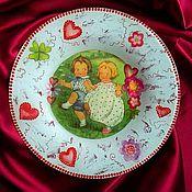 """Для дома и интерьера ручной работы. Ярмарка Мастеров - ручная работа Тарелочка-""""валентинка"""". Handmade."""