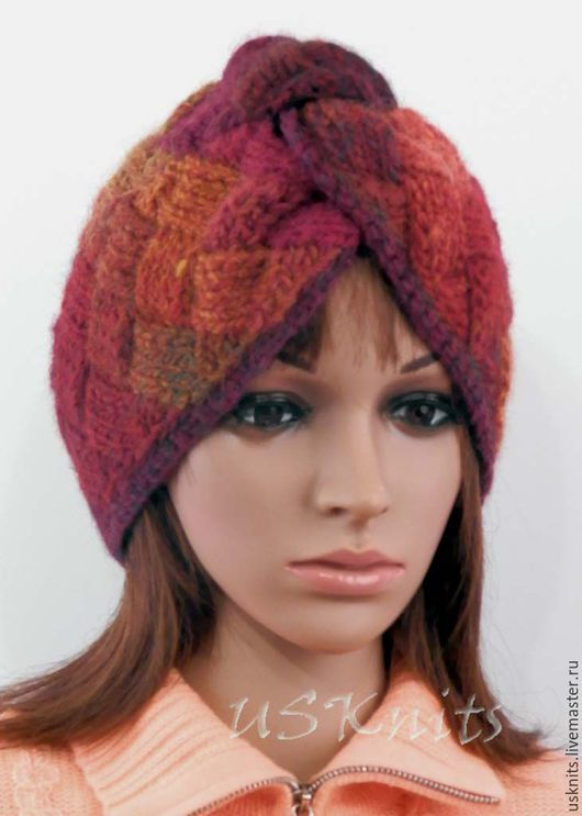 Вязаная  шапка чалма (тюрбан) теплая,  мягкая, слегка пушистая.