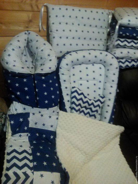 Для новорожденных, ручной работы. Ярмарка Мастеров - ручная работа. Купить комплект из 5 предметов, бортики, конверт, кокон, одеяло. Handmade.