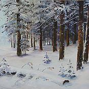 Картины и панно handmade. Livemaster - original item Oil painting landscape Winter lasever Chernov. Handmade.