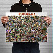 Дизайн и реклама ручной работы. Ярмарка Мастеров - ручная работа Постер со всеми персонажами Футурамы. Handmade.