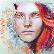 Картины и панно handmade. Livemaster - original item Portrait pastels (grey scarlet red-haired girl). Handmade.