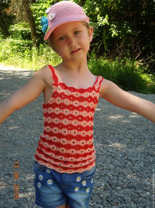 Одежда для девочек, ручной работы. Ярмарка Мастеров - ручная работа. Купить Ажурный топ крючком. Handmade. Комбинированный, яркий топ