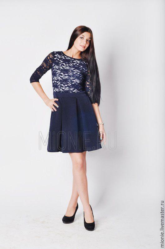 Платья ручной работы. Ярмарка Мастеров - ручная работа. Купить Платье синее с юбкой колокол. Handmade. Синий, Платье нарядное