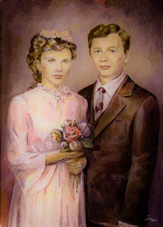 ручной работы. Ярмарка Мастеров - ручная работа. Купить Семейный портрет. Handmade. Коричневый, картина в подарок, семейный подарок