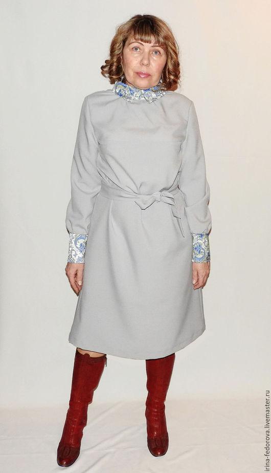 Платья ручной работы. Ярмарка Мастеров - ручная работа. Купить Платье офисное П-103. Handmade. Серый, деловой стиль