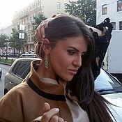 Украшения handmade. Livemaster - original item Green and brown earrings rectangle modern