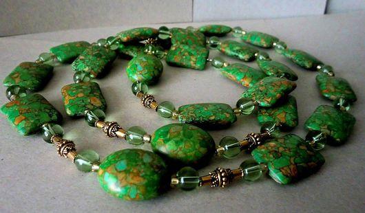 Колье, бусы ручной работы. Ярмарка Мастеров - ручная работа. Купить Ожерелье из натуральных камней Твои зелёные глаза.... Handmade.