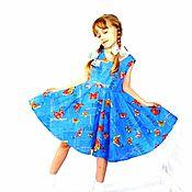 Работы для детей, handmade. Livemaster - original item Dress cotton Butterfly 128-140 R. Handmade.