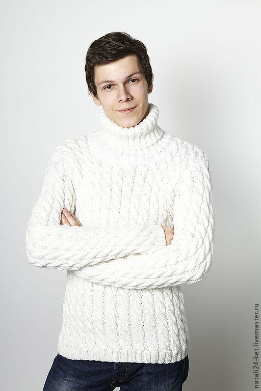 Кофты и свитера ручной работы. Ярмарка Мастеров - ручная работа. Купить Мужской свитер с косами. Handmade. Белый, свитер, вязанная