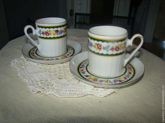 Винтажная посуда. Ярмарка Мастеров - ручная работа. Купить Две   немецкие кофейные фарфоровые чашки  с блюдцами. Handmade. Фарфор