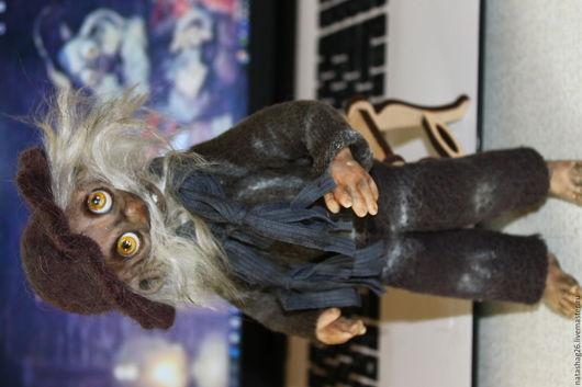 Коллекционные куклы ручной работы. Ярмарка Мастеров - ручная работа. Купить Дядюшка АУ. Handmade. Коричневый, шерсть 100%