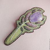 Украшения handmade. Livemaster - original item Barrette HOUSE FOREST FAIRIES amethyst, beads, brocade, leather. Handmade.