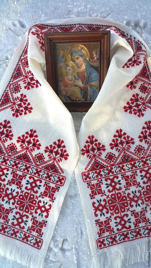 Текстиль, ковры ручной работы. Ярмарка Мастеров - ручная работа. Купить Рушник - божник. Handmade. Белый, рушник на икону, божник